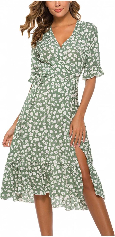 Abinaa Summer Tunic Dress for Women Printed V Neck Petal Sleeve Midi Dress Casual Loose Ruffles Swing Shift Mini Dresses