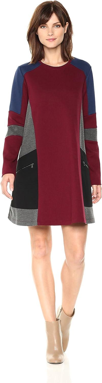 BCBGMAXAZRIA Womens Gigi color Block Knit Dress with Zip Details Dress