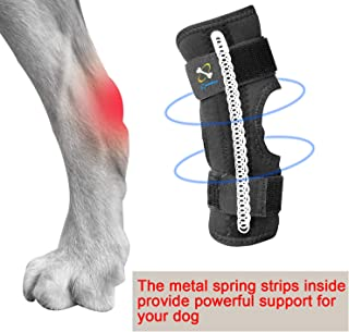 COODEO Powerful Dog Canine Rear Leg Hock Joint Brace with Metal Spring Strips, Strengthen Support Dog Back Leg Compression Wrap, Help Dogs with Injuries, Sprains, Arthritis, Rheumatism Walk