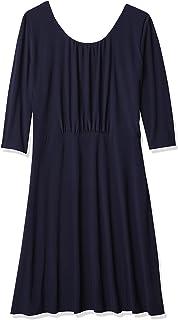 "Star Vixen Women's Plus Size Elbow Sleeve Ity Knit Short Skater Waist-Seam Dress with Scoop Neckline and""X"" Crossback Detail"