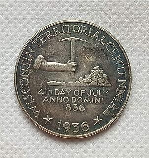 Rare Antique USA United States 1936 Year Wisconsin Commemorative Half Dollar Silver Color Coin