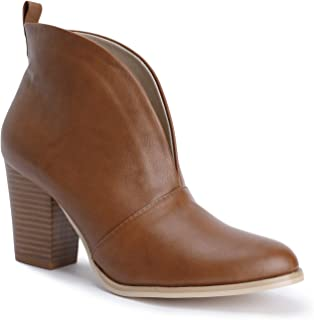 Womens Fall Ankle Boots Deep V Cutout Front Slit Block Stacked Heel Bootie Dress Shoes