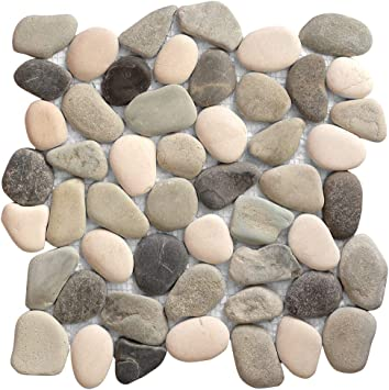 1-Sheet Kitchen Floor Bathroom Patio Stone Tile for Indoor and Outdoor Use Natural River Rock Stones SA-PT204-1 FuStone Decorative Tiles Interlocking Tumbled Pebble Tiles