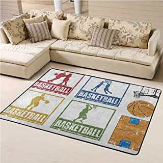 Area Rug Basketball for Kids Room Collection of Vintage Rubber Stamp Print Illustration Basketball Players 3 x 5 Ft Navy G...