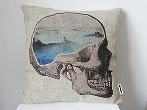 Decorbox Cotton Linen Square Throw Pillow Case Decorative Vintage Cushion Cover Pillowcase Sea Dream Skull 18 X18