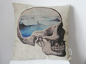 Decorbox Cotton Linen Square Throw Pillow Case Decorative Vintage Cushion Cover Pillowcase Sea Dream Skull 18 X18