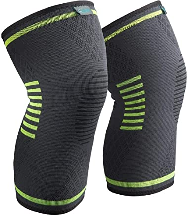 Sable Knee Brace Compression Sleeves 2 Pack FDA Approved, Support for Arthritis, ACL, Running, Biking, Basketball Sports, Joint Pain Relief, Meniscus Tear, Faster Injury Recovery