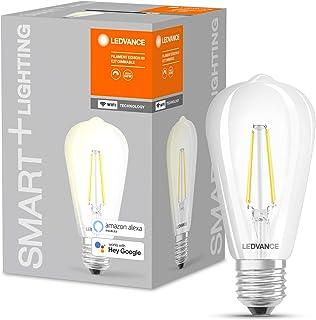 LEDVANCE Lámpara LED inteligente con tecnología WiFi, enchufe E27, regulable, blanco cálido (2700 K), reemplaza las lámparas incandescentes por 60W, filamento SMART+ WiFi Edison Regulable,paquete de 1