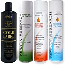 Gold Label Professional Brazilian Keratin Blowout Hair Treatment Super Enhanced Formula Specifically Designed for Coarse, Curly, Black, African, Dominican, and Brazilian Hair Types (240ml Large Set)