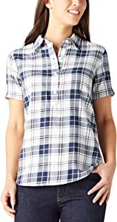 Dickies Women`s Short Sleeve Woven Popover Shirt with 3 Buttons