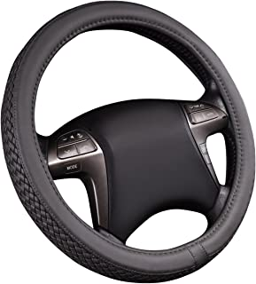 HORSE KINGDOM NEW ARRIVAL Universal Faux Leather Weave Steering Wheel Covers Gray Fit Car Truck SUV Sedans VAN'S