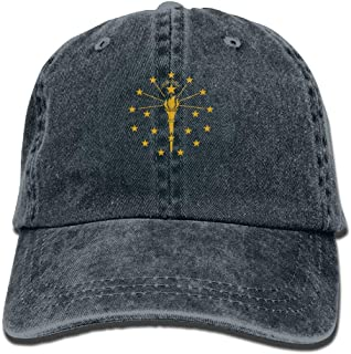 Indiana State Flag Torch Logo Baseball Hat Men and Women Summer Sun Hat Travel Sunscreen Cap Fishing Outdoors