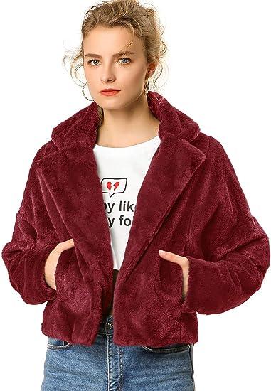 wine red faux fur cute jacket cozy warm sale