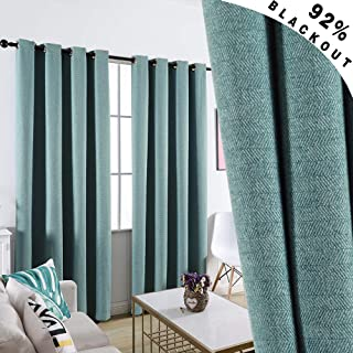 GRALI Thermal Insulated Blackout Curtains, Room Darkening Zigzag Textured Drape Panels for Living Room/Dining Room, W51 by L84, 2 Pcs, Teal