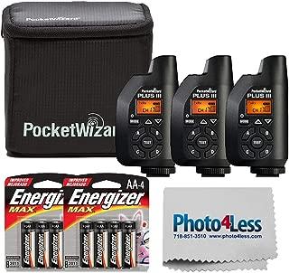 PocketWizard Plus III Bonus Bundle Includes 3 Plus III Transceivers + Case + Premium Max AA Batteries and Lens Cleaning Cloth