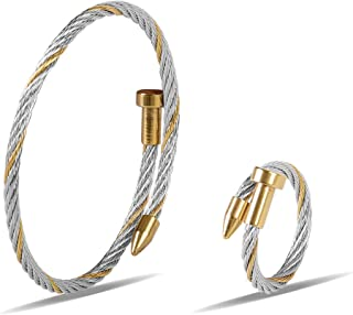 Zean Designer 14K Gold Plated Nail Bracelet and Ring for Womens Inspired Antique Jewelry Cross Cable Wire Bangle