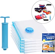 Kurtzy Vacuum Storage Reusable Ziplock Space Saver Bags (Pack of 5) 2 Small (40 cm x 60 cm), 2 Medium (50 cm x 70 cm), 1 Large (60 cm x 80 cm) with Hand Pump for Travel