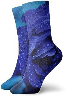 Blue Rose Waterdrop Calcetines cortos transpirables Calcetines clásicos de algodón de 30 cm para hombres Mujeres Yoga Senderismo Ciclismo