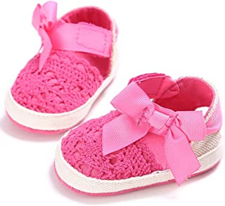 TEQIN Baby Girl Newborn Summer Sweet Bowknot Knitted Shoe Soft Sole Non-slip Shoes Rose red 11CM insole length, 44 grams