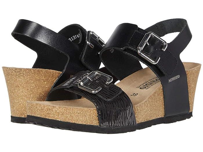 Mephisto  Lissandra (Black Sandanyl/Zebra) Womens Wedge Shoes