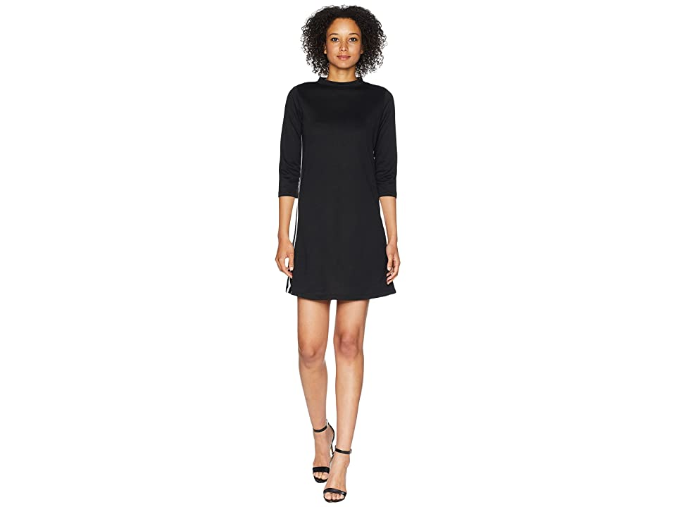 American Rose Simone Mock Neck French Terry Dress with Stripes (Black/White) Women