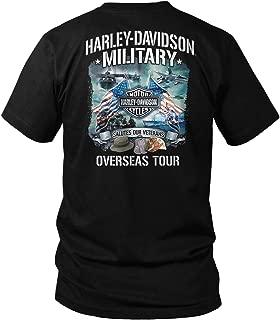 Harley-Davidson Military - Bar & Shield Orange on Black T-Shirt - Overseas Tour | Salutes Our Veterans