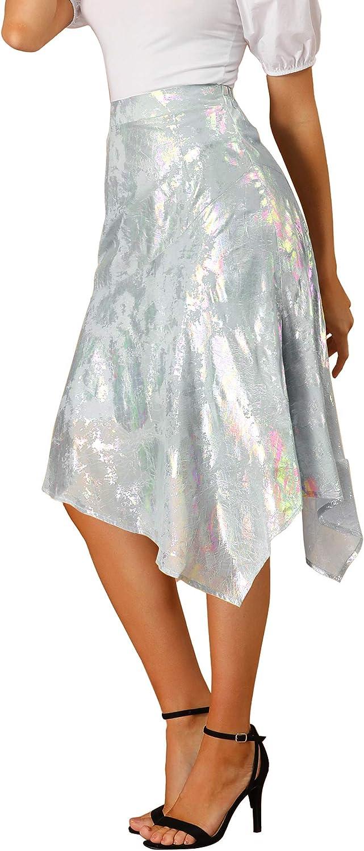 Allegra K Women's Sparkle Holographic Chiffon Asymmetric Hem Skirt