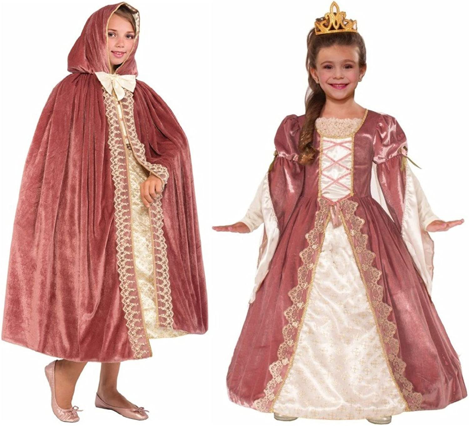 Big Girls' Victorian pink Princess Costume and Hooded Cape Set