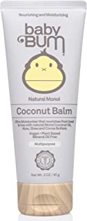 Baby Bum Natural Monoi Coconut Balm- 100% Natural Coconut Oil - Sensitive Skin Safe - Travel Size - 3 oz Tube