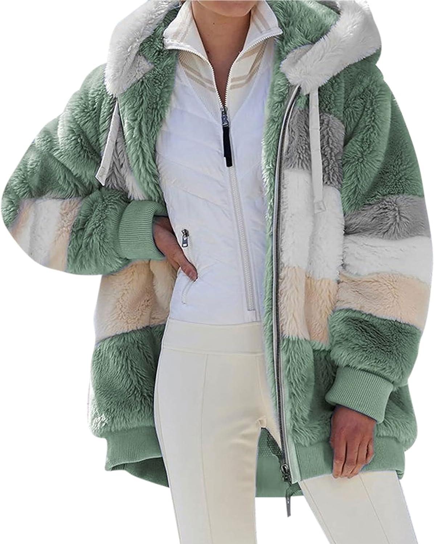 Women Fleece Jacket Fall Winter Plush Hoodie Full Zip Up Long Sleeve Cardigan Coats Warm Color Block Outwear With Pockets