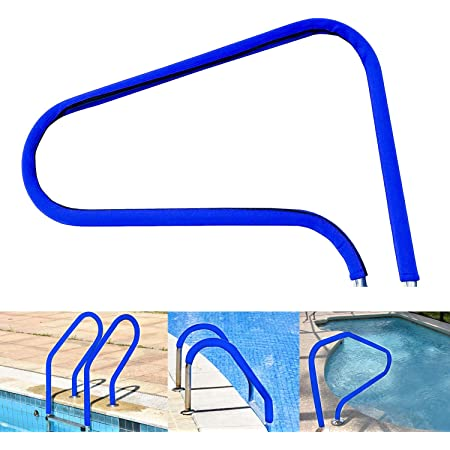 4 Feet Blue Grip with 5 Fixing Straps Inground Pool Handrail Covers for Swimming Pool Ladder Handrail Swimming Pool Hand Rail Cover