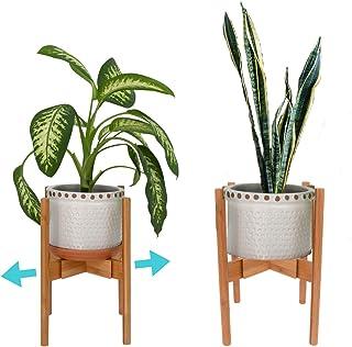 "Houseables Plant Pot Stand, Modern Planter Holder, 8""-12"", 1 PK, Bamboo Construction, Mid Century Modern Trivet, Indoor/Outdoor, Adjustable, Free Standing Display, for Ceramic Flower Pot, House Fern"