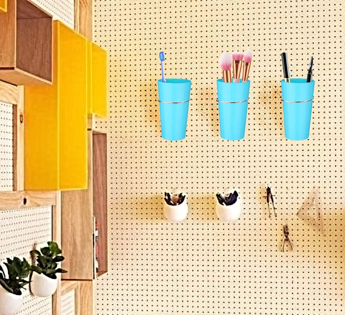 Transparent 5 Pack Pegboard Bin Kit Pegboard Hooks with Storage Bins Jars Cups Pegboard Cup Holder Organizer for Workbench Craft Tool and Other Accessories