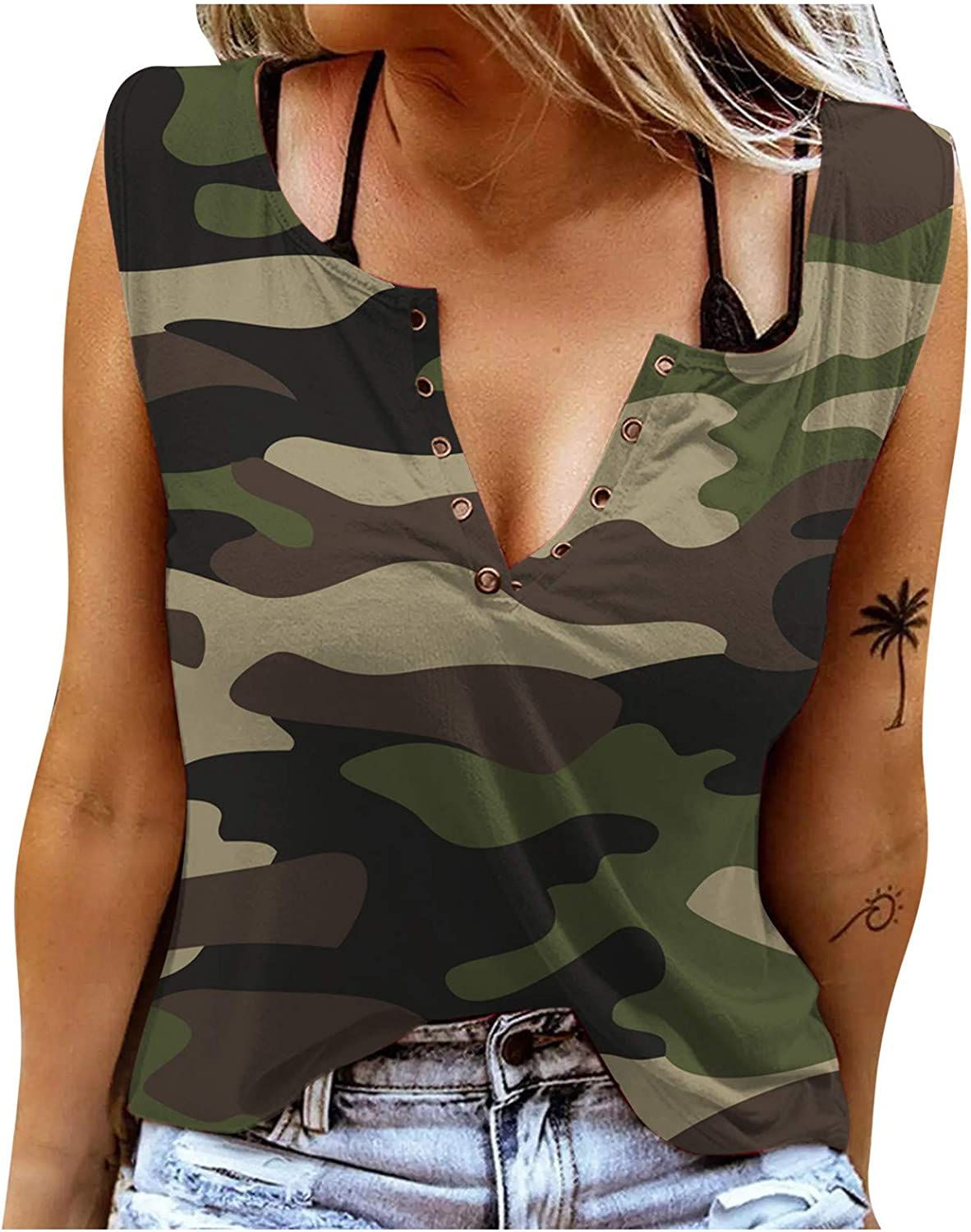 Womens Button V Neck Sleeveless Shirts Tank Tops Summer Casual Sexy Blouse Tops Tunic Graphic Tee
