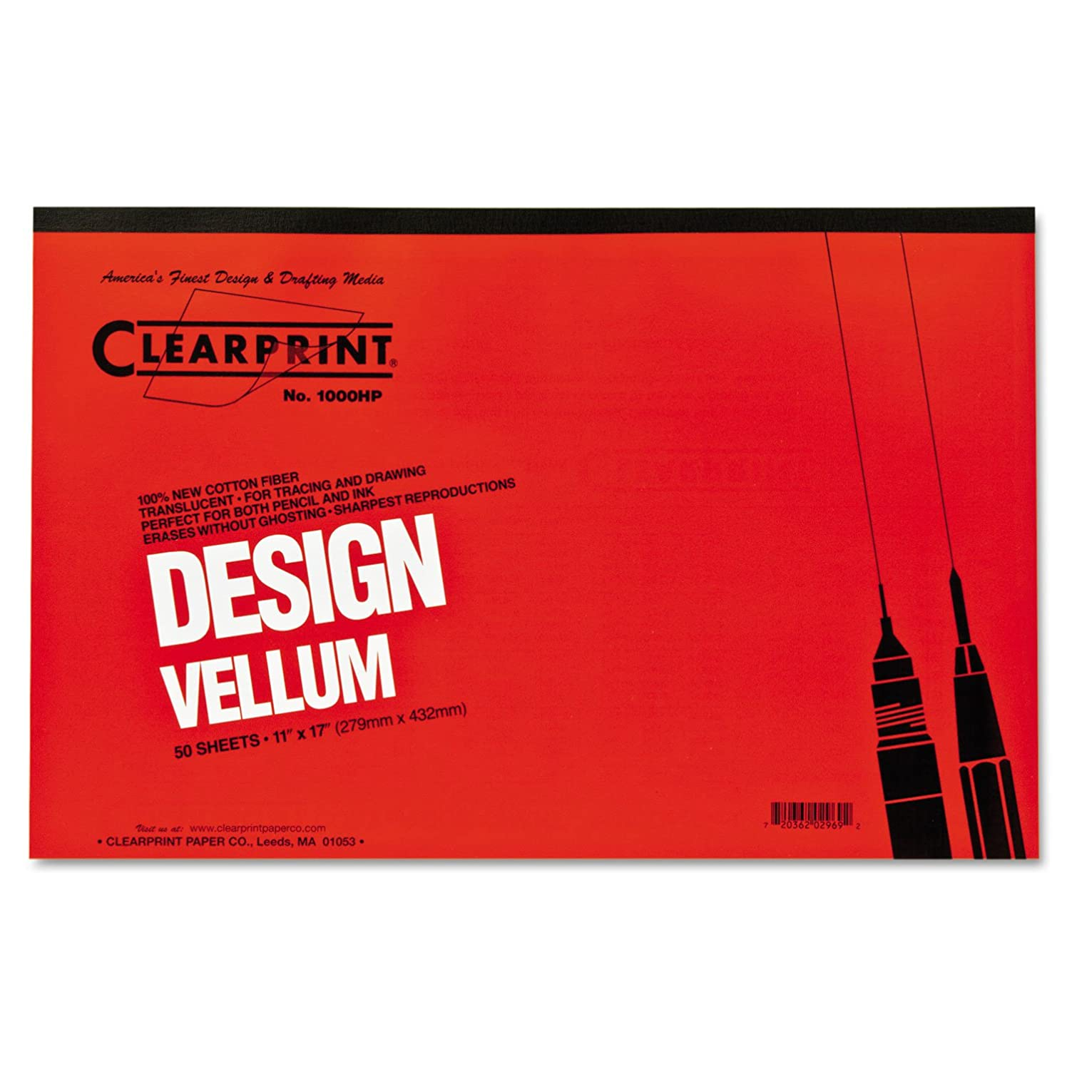 Clearprint CHA10001416 Not Not Available 10001416 Design Vellum Paper, 16lb, White, 11 x 17, 50Sheets per Pad