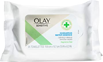 Olay Makeup Remover Wipes for Sensitive Skin, with Hungarian Water Essence, 25 Count
