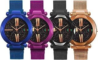 yunanwa 4 Pack Women Ladies Watches, Starry Sky Magnet Buckle Dial Diamond Cutting Mesh Brand Straps Bracelet Wristwatch