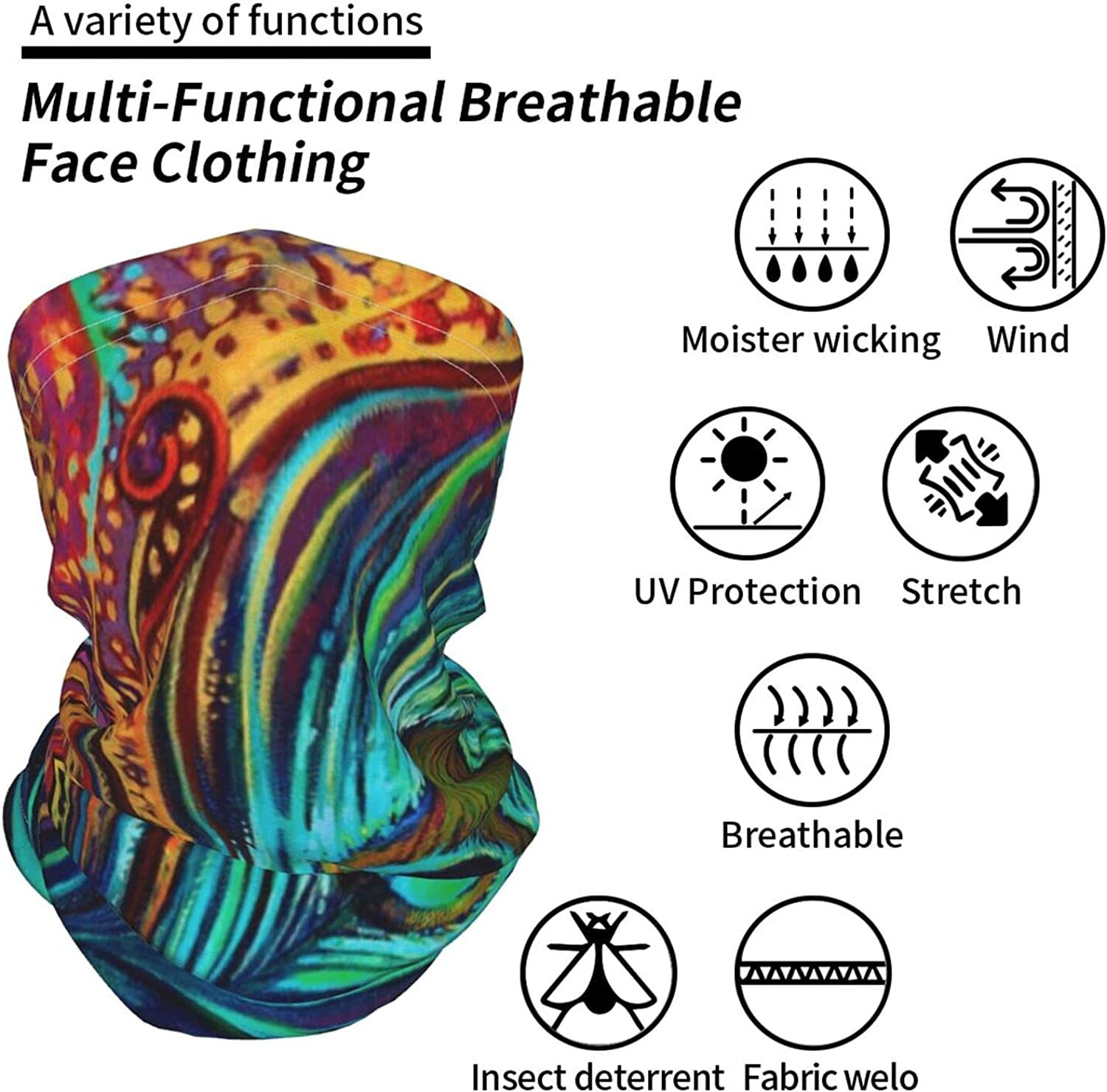 Peacock Feather Paintings Neck Gaiter Multipurpose Headwear Ice Silk Mask Scarf Summer Cool Breathable Outdoor Sport 2 Pcs