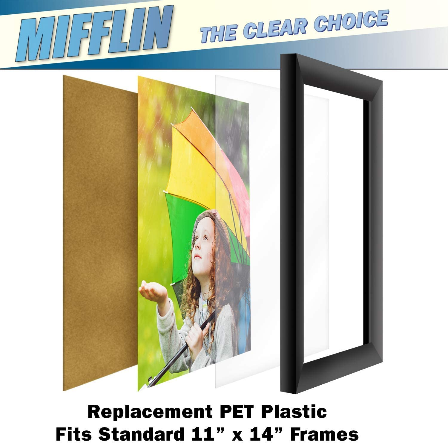 MIFFLIN Clear Plastic Sheet 11x14 inch, 5 Pack PET is Similar to Plexiglass /& Perfect as a Replacement for Poster Frame Glass Easy to Cut to Any Size Ideal for General Purpose Household Uses