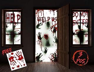KD KIDPAR 3 قطع أغطية تزيين باب نافذة عيد القديسين، تشمل قطعتين 60x30 بوصة و1 قطعة 80x36 بوصة ملصقات الباب مع صورة ظلية دم...