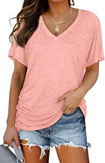 Womens Short Sleeve V Neck Dolman Tops with Side Shirring...