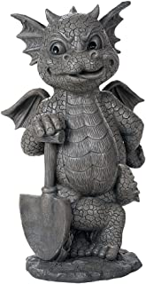 Pacific Giftware Garden Dragon Green Thumb Gardener Dragon Decorative Garden Accent Sculpture Stone Finish 10 Inch Tall