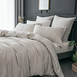 PHF 100% French Linen Duvet Cover and 2 Pillowshams for Winter Durable Luxurious Vintage 3 Pieces with Corner Ties King Size Linen