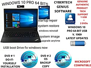 WINDOWS 10 PRO LATEST VERSION 1909 64-BIT USB + 2 FREE DVDs 1 DO-IT-YOURSELF INSTALL/REINSTALL VIDEO & 1 BACKUP COPY. UPGRADE RECOVERY FIX RESTORE REPAIR BOOT LIVE TECH SUPPORT COMPATIBLE TO MICROSOFT