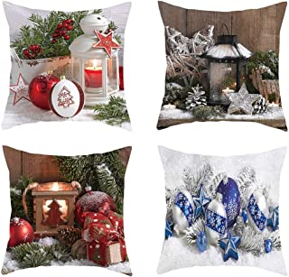 Zcuhen Christmas Pillow Covers Set of 4 Throw Pillow Cases 18x18 inch for Couch Sofa Bed Decorative (Christmas Tree,Christmas Deer,Big Snowflakes,Snowflakes) Throw Pillows Decorative Pillows Outdoor