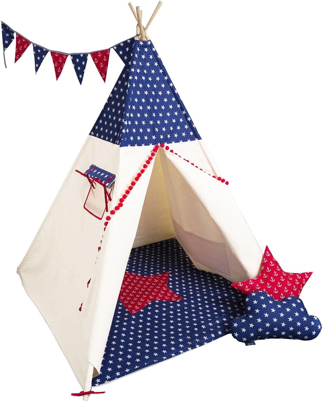 Cozydots Teepee Kinder Zelt Spielzelt Top Qualitt EU, Beihe-Dunkelblau,Tipi Set