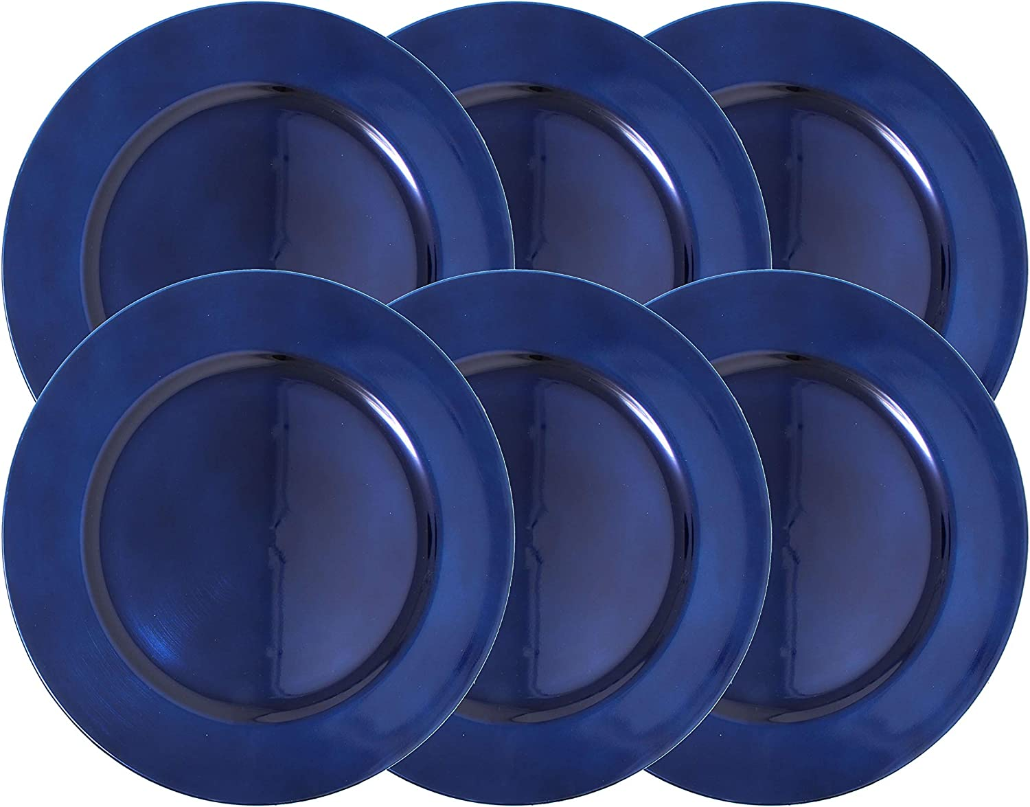 Set of 6 Coral Made of Thick Plastic Metallic Foil Charger Plates