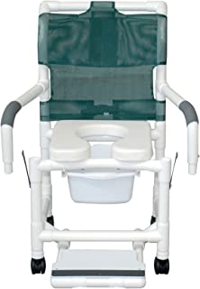 MJM International 118-3TW-SF-SQ-PAIL-SSDE-DDA Standard Shower Chair with Slide Out Footrest, Commode Pail, Soft Seat and Drop Arms, Royal Blue/Forest Green/Mauve