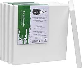Artina FSC Keilrahmen Akademie 20x20 cm 5er Set - Quadratisch klein – Leinwand aus 100% Baumwolle Keilrahmen weiß - 280g/m²