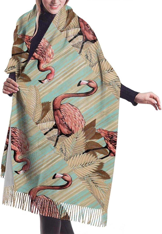 Retro Flamingo Cashmere Feel Scarf Lightweight Soft Scarfs For Boys Girls Creative Warm Cold Weather Blanket Scarf